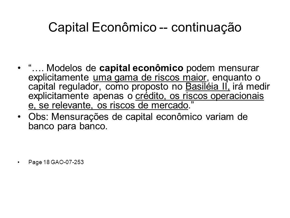 Capital Econômico -- continuação …. Modelos de capital econômico podem mensurar explicitamente uma gama de riscos maior, enquanto o capital regulador,