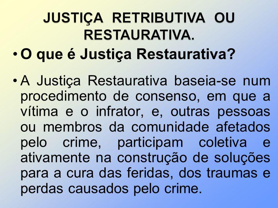 O que é Justiça Restaurativa? A Justiça Restaurativa baseia-se num procedimento de consenso, em que a vítima e o infrator, e, outras pessoas ou membro