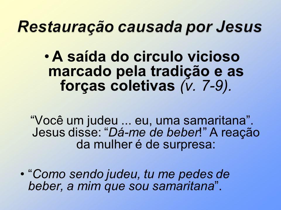 A saída do circulo vicioso marcado pela tradição e as forças coletivas (v. 7-9). Você um judeu... eu, uma samaritana. Jesus disse: Dá-me de beber! A r