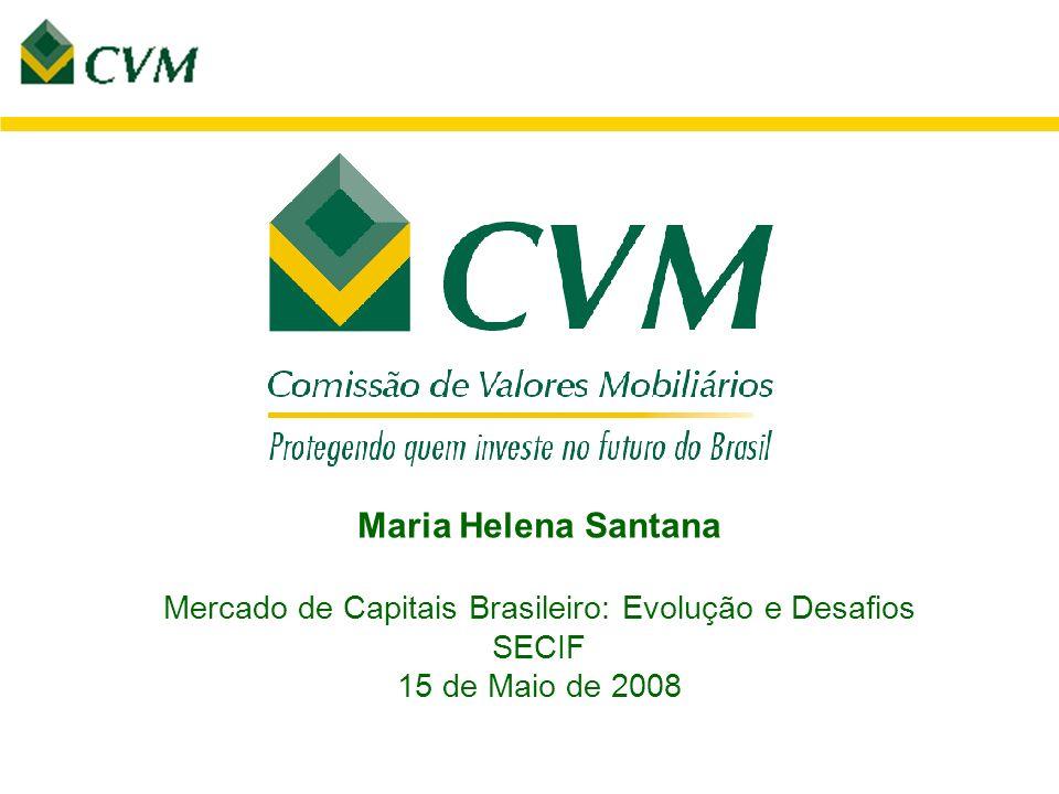 Maria Helena Santana Mercado de Capitais Brasileiro: Evolução e Desafios SECIF 15 de Maio de 2008