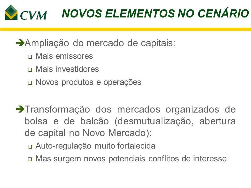 NOVOS ELEMENTOS NO CENÁRIO è Ampliação do mercado de capitais: Mais emissores Mais investidores Novos produtos e operações è Transformação dos mercado