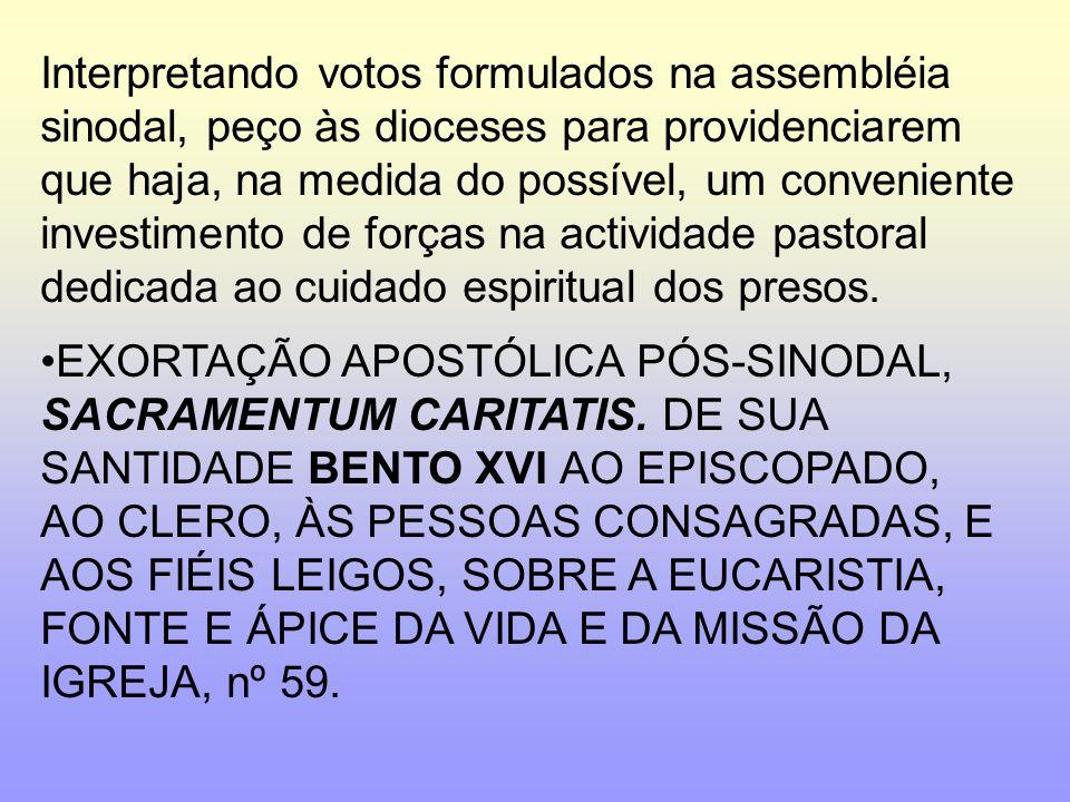 Interpretando votos formulados na assembléia sinodal, peço às dioceses para providenciarem que haja, na medida do possível, um conveniente investiment