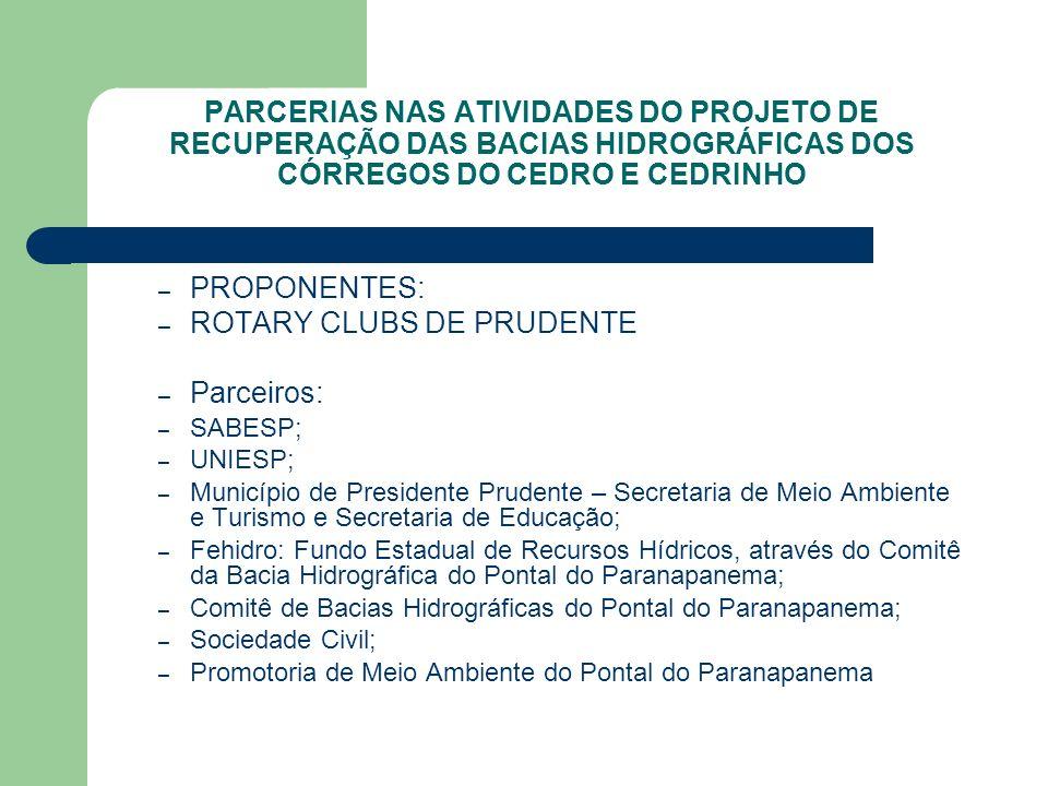 PARCERIAS NAS ATIVIDADES DO PROJETO DE RECUPERAÇÃO DAS BACIAS HIDROGRÁFICAS DOS CÓRREGOS DO CEDRO E CEDRINHO – PROPONENTES: – ROTARY CLUBS DE PRUDENTE