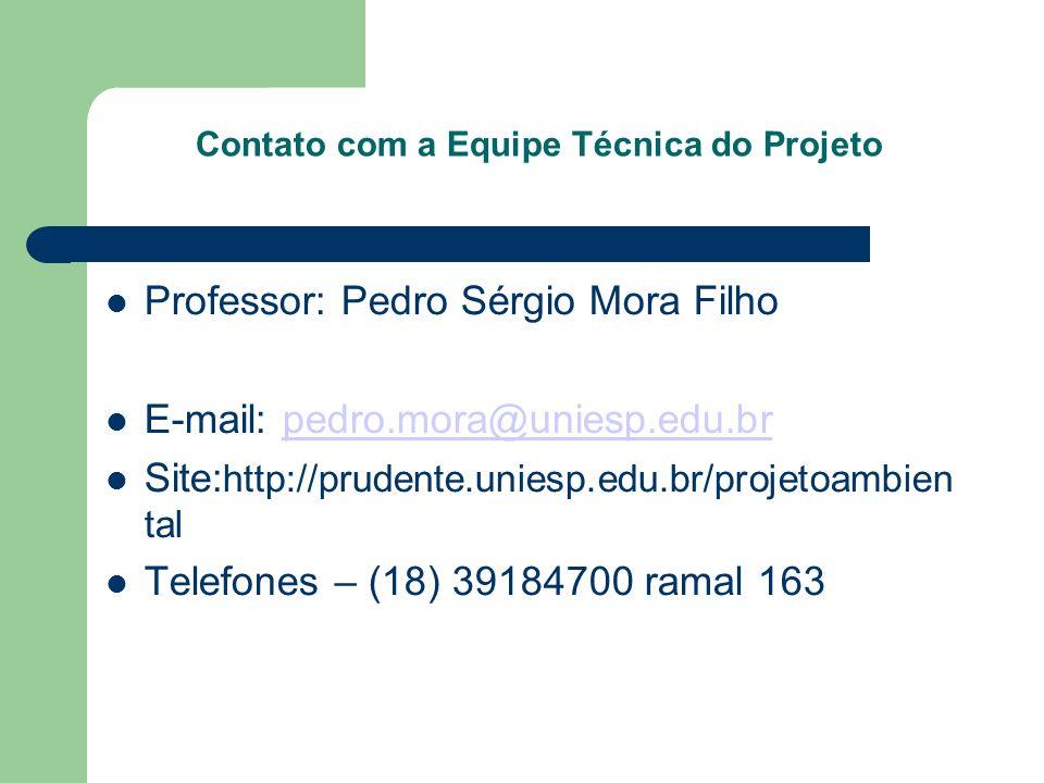 Contato com a Equipe Técnica do Projeto Professor: Pedro Sérgio Mora Filho E-mail: pedro.mora@uniesp.edu.brpedro.mora@uniesp.edu.br Site: http://prude