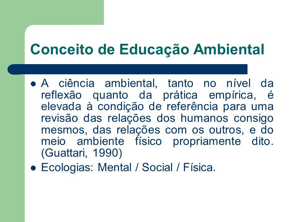 Conceito de Educação Ambiental A ciência ambiental, tanto no nível da reflexão quanto da prática empírica, é elevada à condição de referência para uma