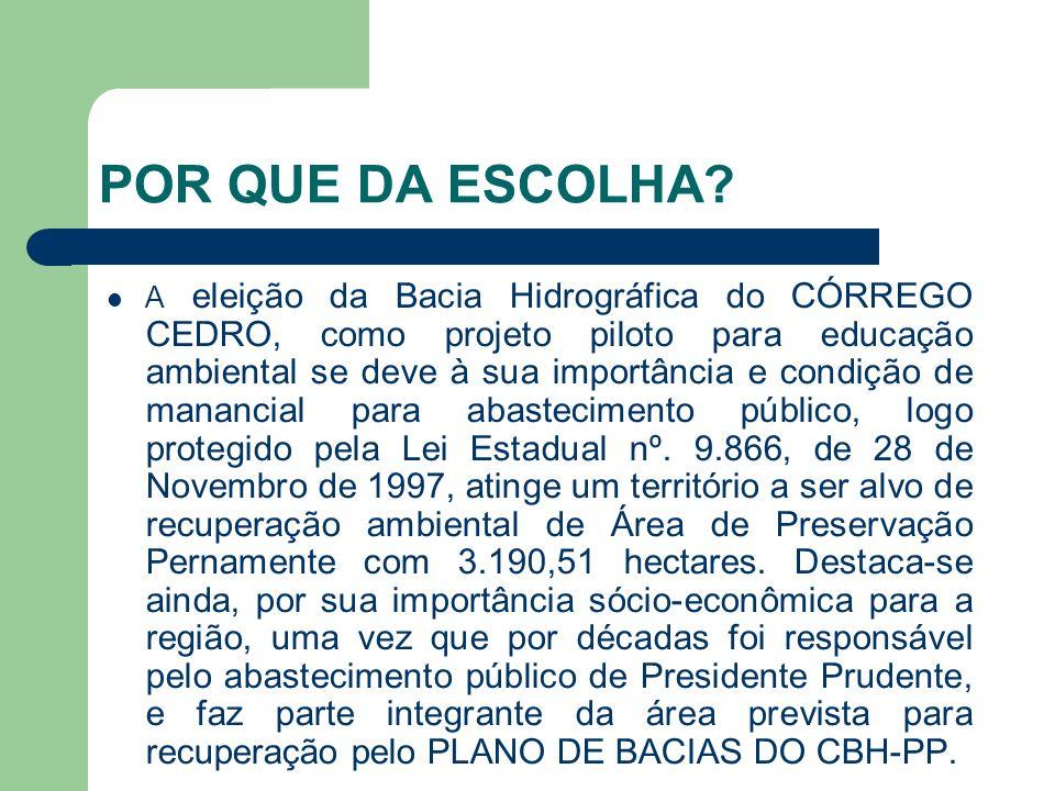 POR QUE DA ESCOLHA? A eleição da Bacia Hidrográfica do CÓRREGO CEDRO, como projeto piloto para educação ambiental se deve à sua importância e condição