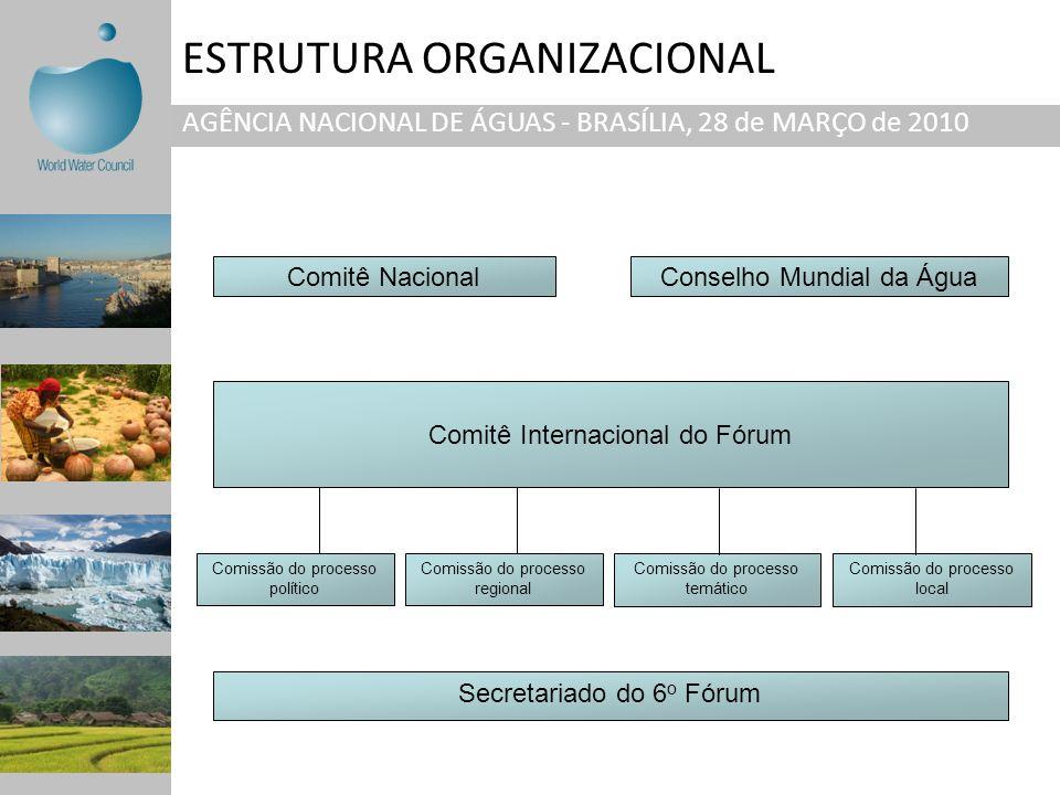 ESTRUTURA ORGANIZACIONAL AGÊNCIA NACIONAL DE ÁGUAS - BRASÍLIA, 28 de MARÇO de 2010 Comitê Internacional do Fórum Comissão do processo local Comitê Nac