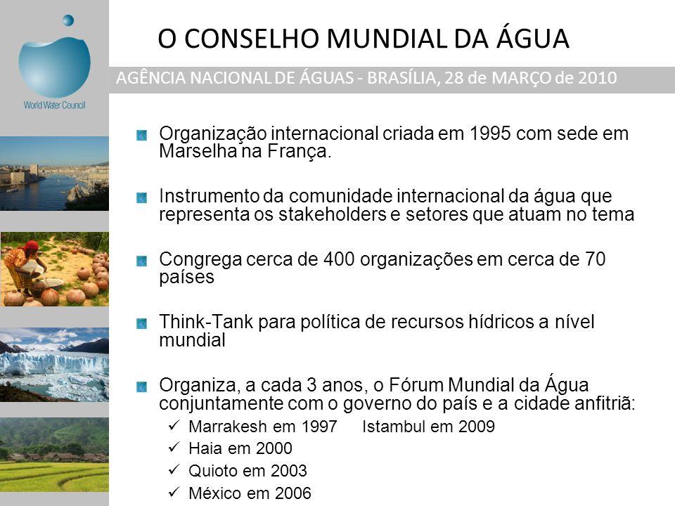 O CONSELHO MUNDIAL DA ÁGUA AGÊNCIA NACIONAL DE ÁGUAS - BRASÍLIA, 28 de MARÇO de 2010 Organização internacional criada em 1995 com sede em Marselha na