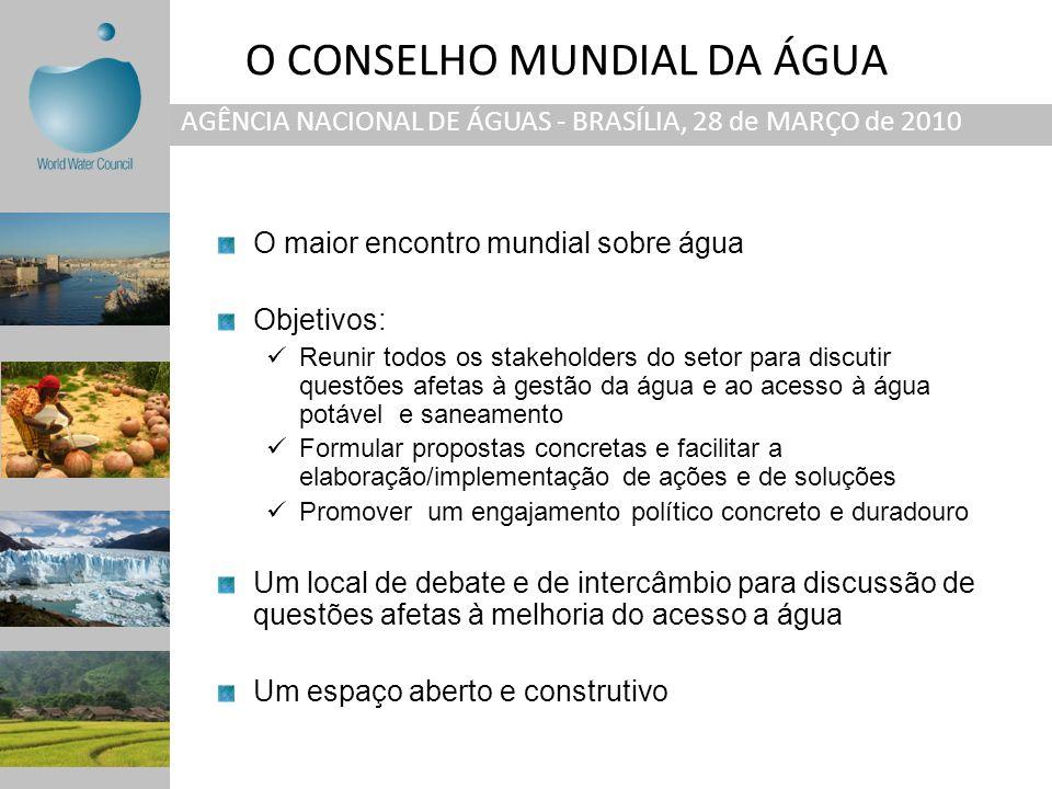 AGÊNCIA NACIONAL DE ÁGUAS - BRASÍLIA, 28 de MARÇO de 2010 O maior encontro mundial sobre água Objetivos: Reunir todos os stakeholders do setor para di