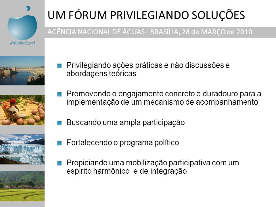 UM FÓRUM PRIVILEGIANDO SOLUÇÕES AGÊNCIA NACIONAL DE ÁGUAS - BRASÍLIA, 28 de MARÇO de 2010 Privilegiando ações práticas e não discussões e abordagens t