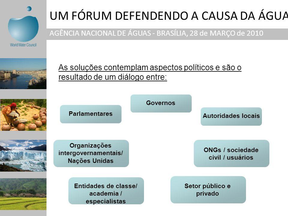 UM FÓRUM DEFENDENDO A CAUSA DA ÁGUA AGÊNCIA NACIONAL DE ÁGUAS - BRASÍLIA, 28 de MARÇO de 2010 As soluções contemplam aspectos políticos e são o result