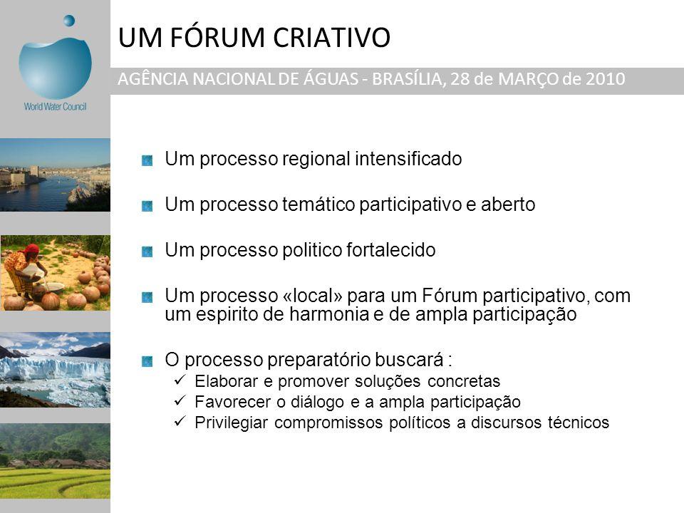 UM FÓRUM CRIATIVO AGÊNCIA NACIONAL DE ÁGUAS - BRASÍLIA, 28 de MARÇO de 2010 Um processo regional intensificado Um processo temático participativo e ab