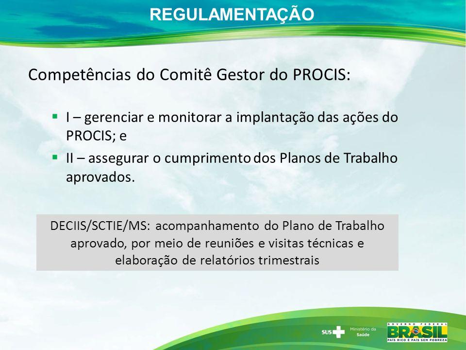 REGULAMENTAÇÃO Competências do Comitê Gestor do PROCIS: I – gerenciar e monitorar a implantação das ações do PROCIS; e II – assegurar o cumprimento dos Planos de Trabalho aprovados.