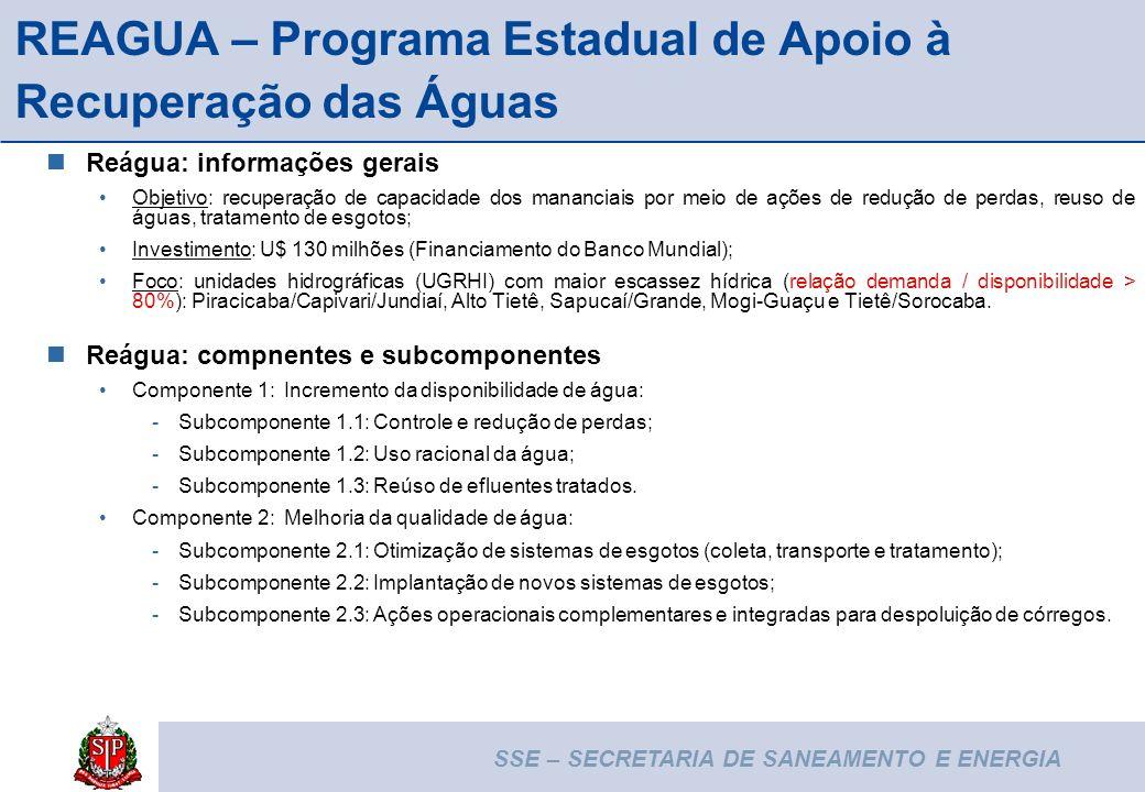 10 REAGUA – Programa Estadual de Apoio à Recuperação das Águas Reágua: informações gerais Objetivo: recuperação de capacidade dos mananciais por meio