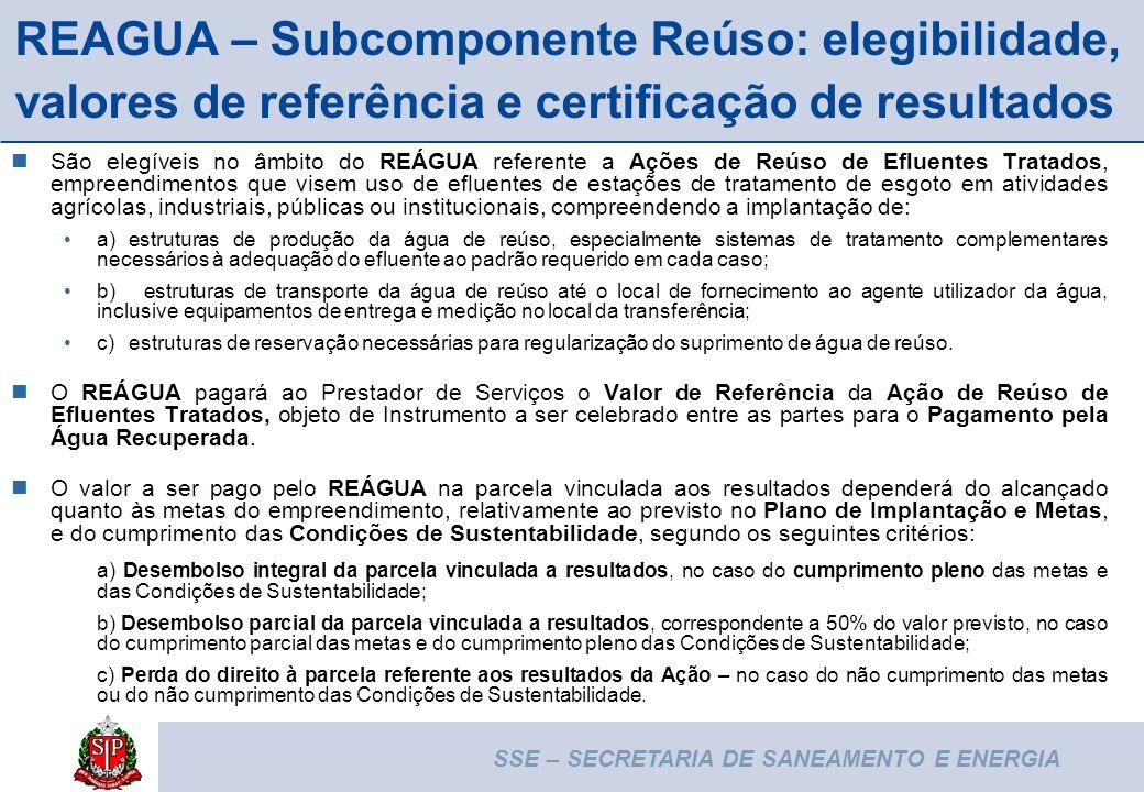 SSE – SECRETARIA DE SANEAMENTO E ENERGIA 12 REAGUA – Subcomponente Reúso: elegibilidade, valores de referência e certificação de resultados São elegív