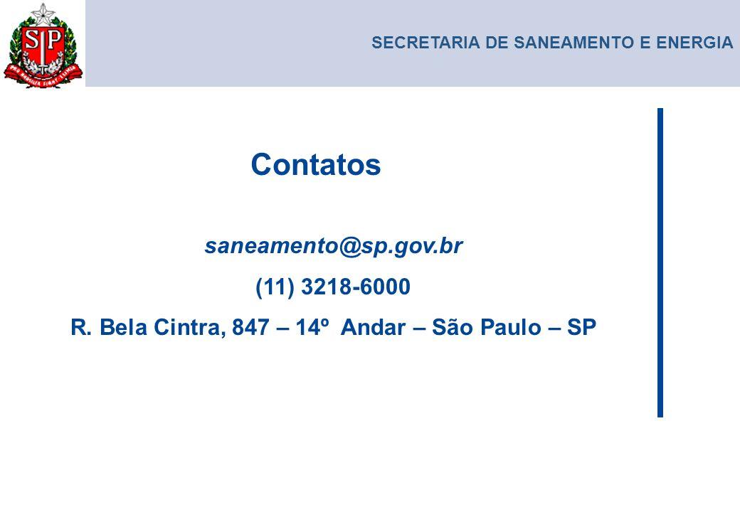 SECRETARIA DE SANEAMENTO E ENERGIA saneamento@sp.gov.br (11) 3218-6000 R. Bela Cintra, 847 – 14º Andar – São Paulo – SP Contatos