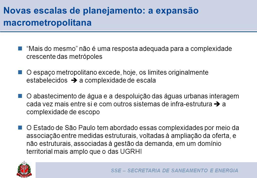 SSE – SECRETARIA DE SANEAMENTO E ENERGIA 6 Novas escalas de planejamento: a expansão macrometropolitana Mais do mesmo não é uma resposta adequada para