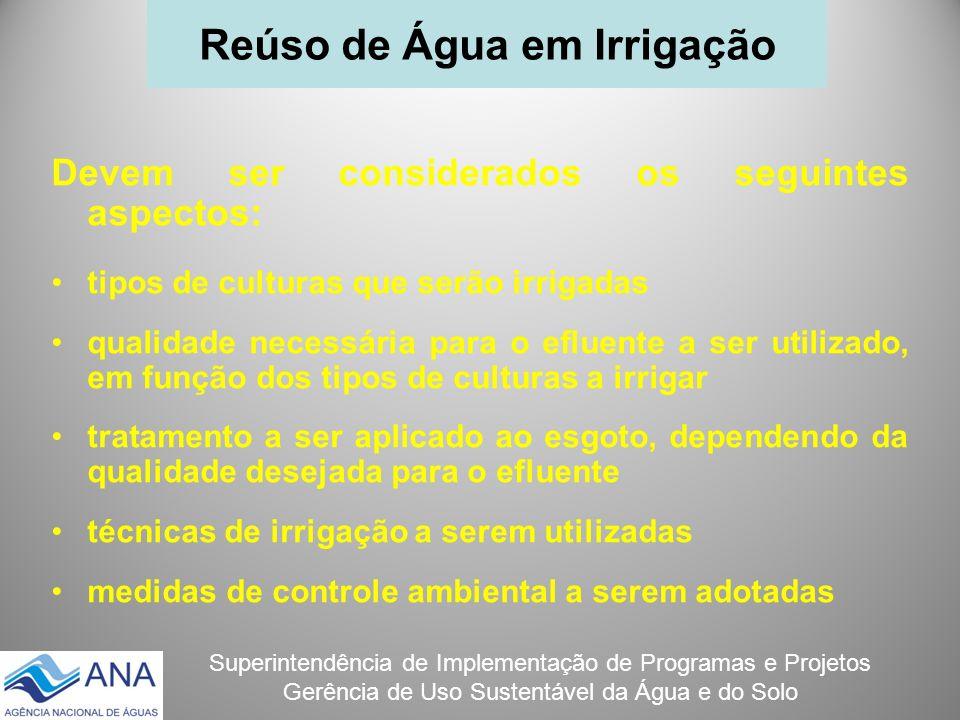 Superintendência de Implementação de Programas e Projetos Gerência de Uso Sustentável da Água e do Solo Devem ser considerados os seguintes aspectos: