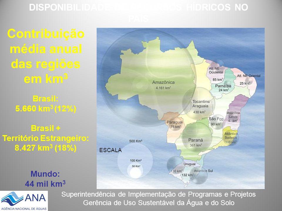 Superintendência de Implementação de Programas e Projetos Gerência de Uso Sustentável da Água e do Solo Contribuição média anual das regiões em km 3 E
