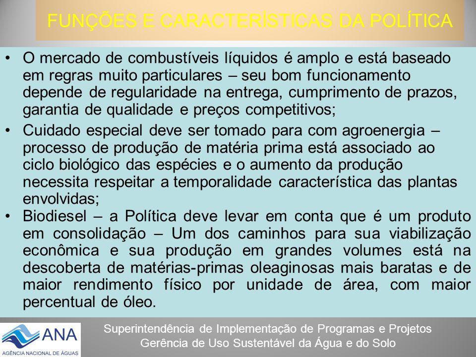 Superintendência de Implementação de Programas e Projetos Gerência de Uso Sustentável da Água e do Solo FUNÇÕES E CARACTERÍSTICAS DA POLÍTICA O mercad