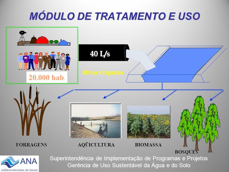 Superintendência de Implementação de Programas e Projetos Gerência de Uso Sustentável da Água e do Solo MÓDULO DE TRATAMENTO E USO 40 L/s 20.000 hab.