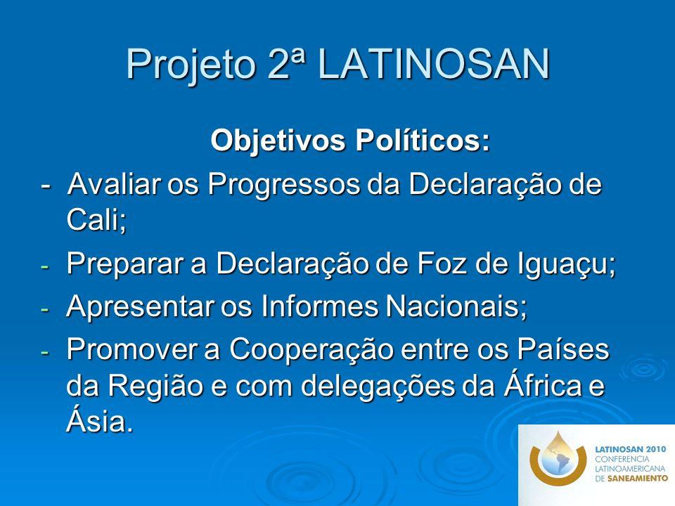 Projeto 2ª LATINOSAN Objetivos Políticos: - Avaliar os Progressos da Declaração de Cali; - Preparar a Declaração de Foz de Iguaçu; - Apresentar os Informes Nacionais; - Promover a Cooperação entre os Países da Região e com delegações da África e Ásia.