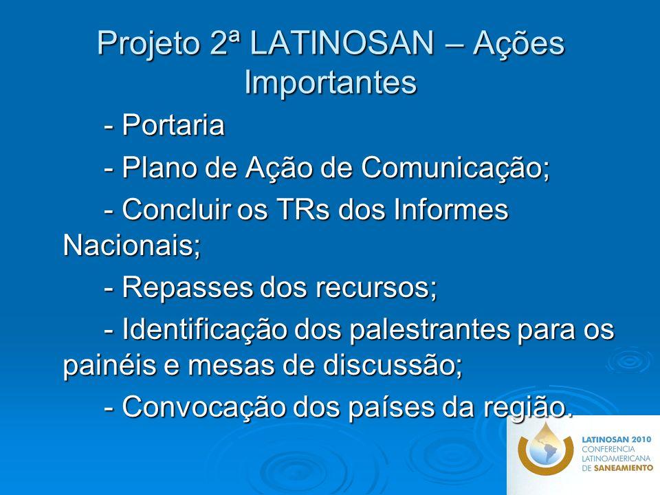 Projeto 2ª LATINOSAN – Ações Importantes - Portaria - Plano de Ação de Comunicação; - Concluir os TRs dos Informes Nacionais; - Repasses dos recursos; - Identificação dos palestrantes para os painéis e mesas de discussão; - Convocação dos países da região.