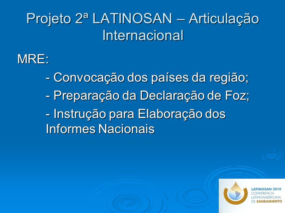 Projeto 2ª LATINOSAN – Articulação Internacional MRE: - Convocação dos países da região; - Preparação da Declaração de Foz; - Instrução para Elaboração dos Informes Nacionais