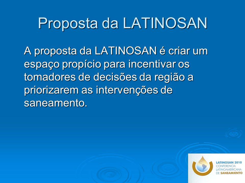 Proposta da LATINOSAN A proposta da LATINOSAN é criar um espaço propício para incentivar os tomadores de decisões da região a priorizarem as intervenções de saneamento.