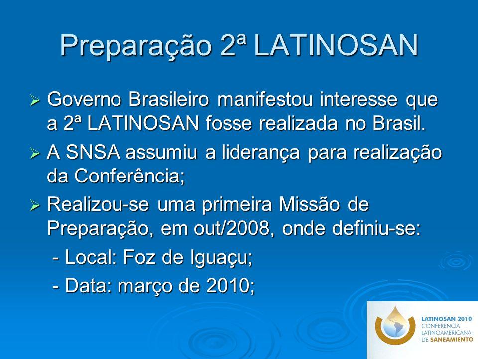 Preparação 2ª LATINOSAN Governo Brasileiro manifestou interesse que a 2ª LATINOSAN fosse realizada no Brasil.