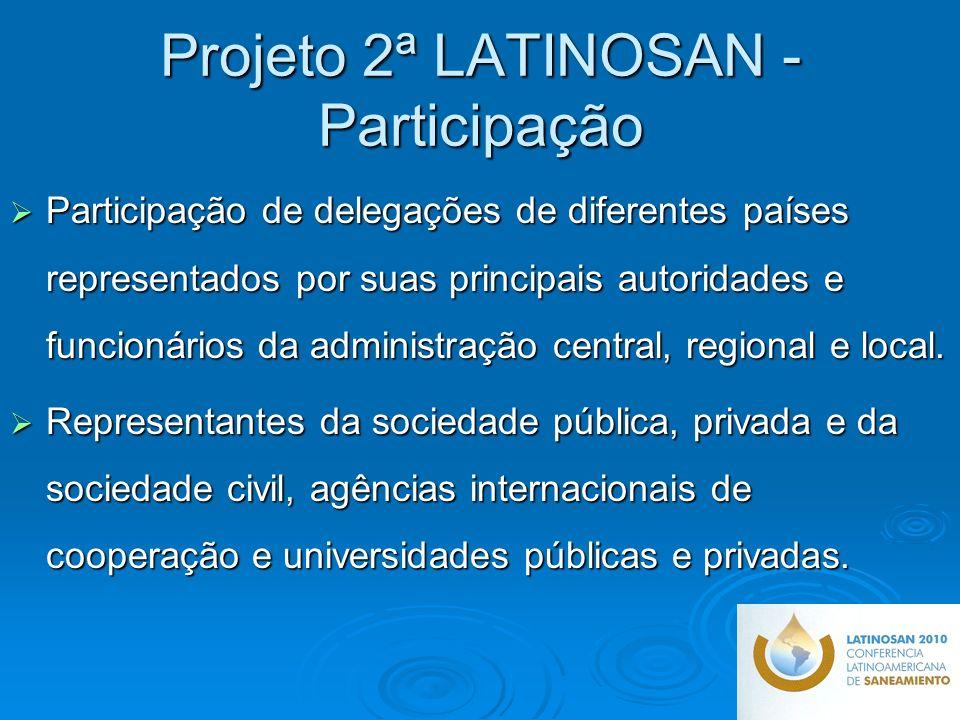 Projeto 2ª LATINOSAN - Participação Participação de delegações de diferentes países representados por suas principais autoridades e funcionários da administração central, regional e local.