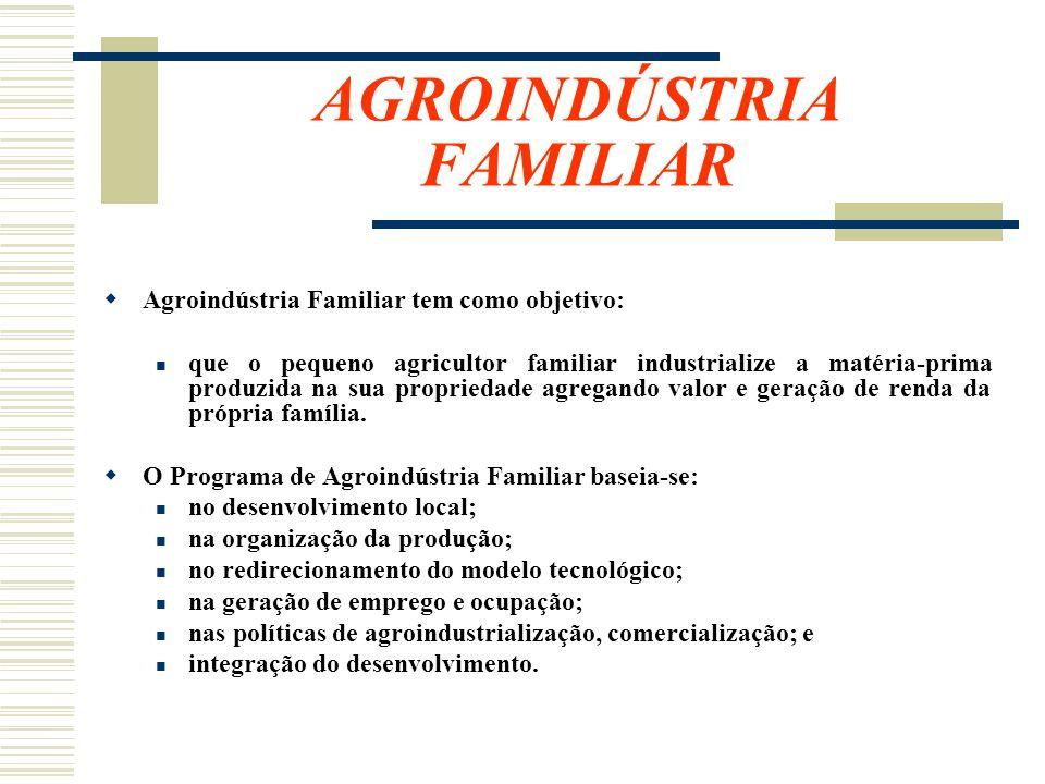 AGROINDÚSTRIA FAMILIAR Agroindústria Familiar tem como objetivo: que o pequeno agricultor familiar industrialize a matéria-prima produzida na sua prop
