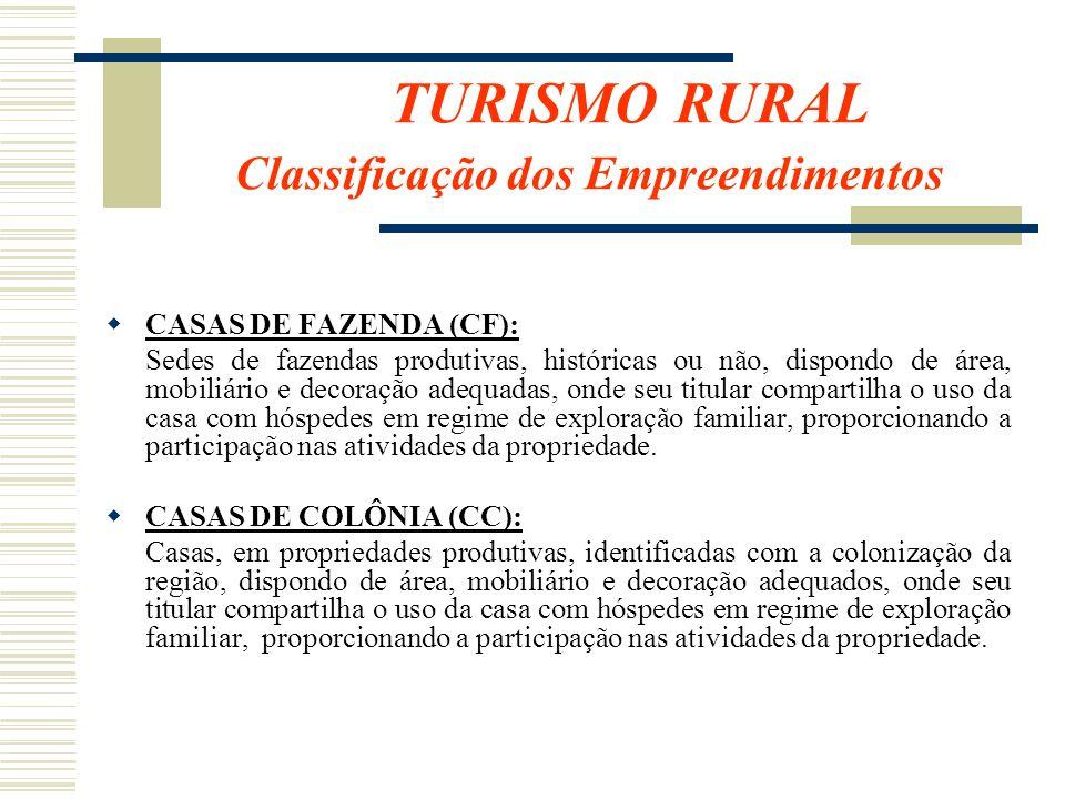 TURISMO RURAL Classificação dos Empreendimentos CASAS DE FAZENDA (CF): Sedes de fazendas produtivas, históricas ou não, dispondo de área, mobiliário e
