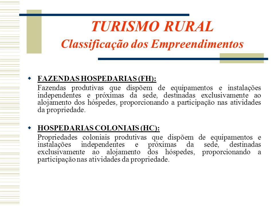 TURISMO RURAL Classificação dos Empreendimentos FAZENDAS HOSPEDARIAS (FH): Fazendas produtivas que dispõem de equipamentos e instalações independentes