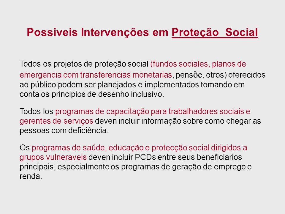 Todos os projetos de proteção social (fundos sociales, planos de emergencia com transferencias monetarias, pens õe, otros) oferecidos ao público podem