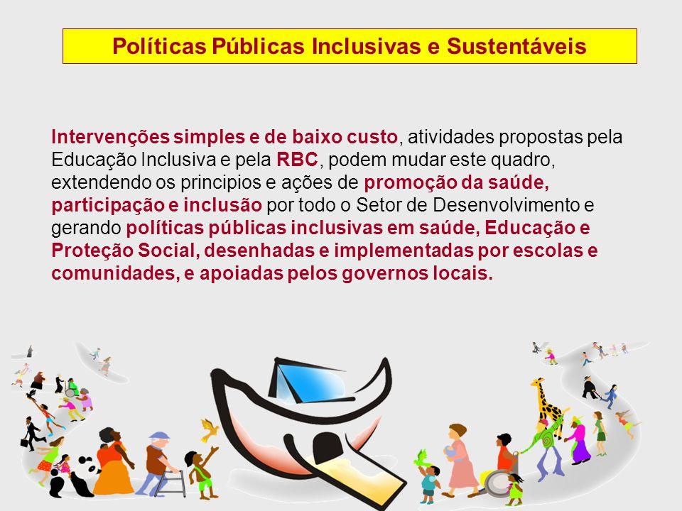 Políticas Públicas Inclusivas e Sustentáveis Intervenções simples e de baixo custo, atividades propostas pela Educação Inclusiva e pela RBC, podem mud