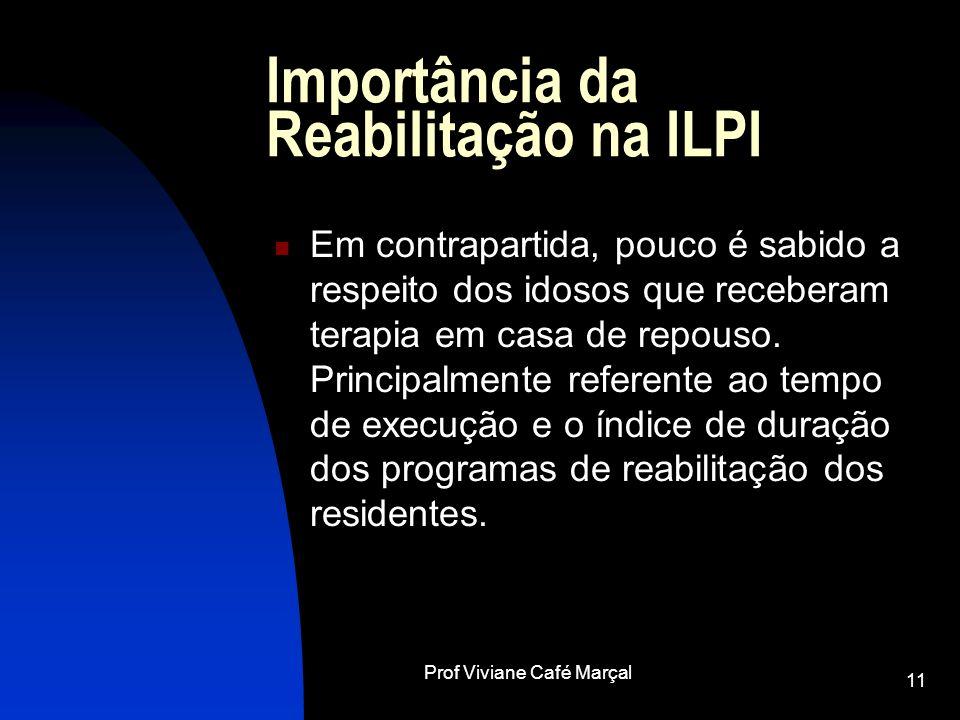 Prof Viviane Café Marçal 11 Importância da Reabilitação na ILPI Em contrapartida, pouco é sabido a respeito dos idosos que receberam terapia em casa d