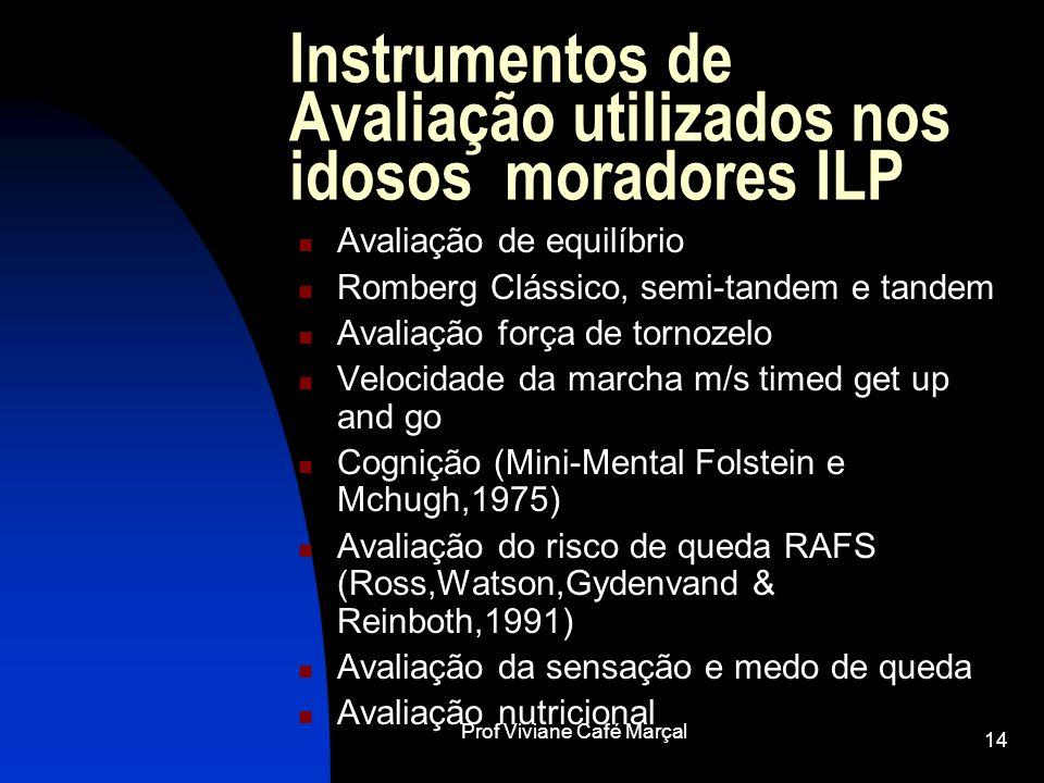 Prof Viviane Café Marçal 14 Instrumentos de Avaliação utilizados nos idosos moradores ILP Avaliação de equilíbrio Romberg Clássico, semi-tandem e tand