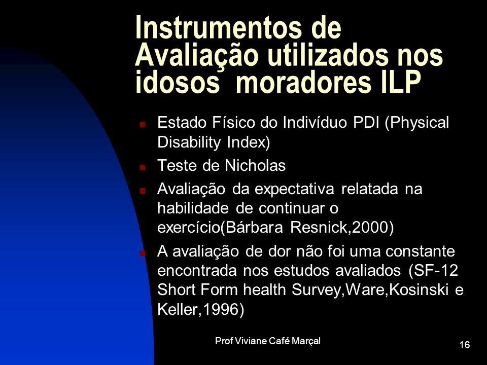 Prof Viviane Café Marçal 16 Instrumentos de Avaliação utilizados nos idosos moradores ILP Estado Físico do Indivíduo PDI (Physical Disability Index) T