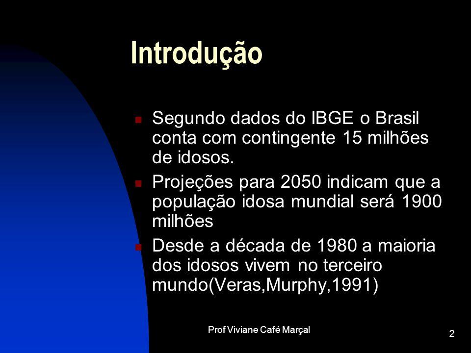 Prof Viviane Café Marçal 2 Introdução Segundo dados do IBGE o Brasil conta com contingente 15 milhões de idosos. Projeções para 2050 indicam que a pop
