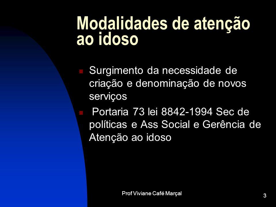 Prof Viviane Café Marçal 3 Modalidades de atenção ao idoso Surgimento da necessidade de criação e denominação de novos serviços Portaria 73 lei 8842-1