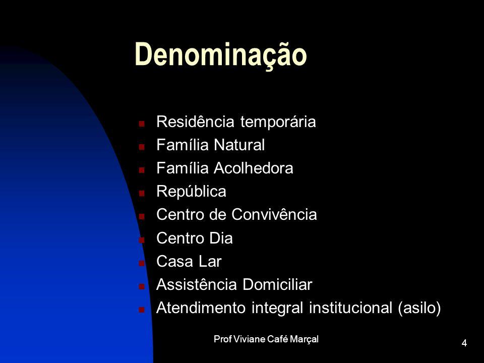 Prof Viviane Café Marçal 4 Denominação Residência temporária Família Natural Família Acolhedora República Centro de Convivência Centro Dia Casa Lar As