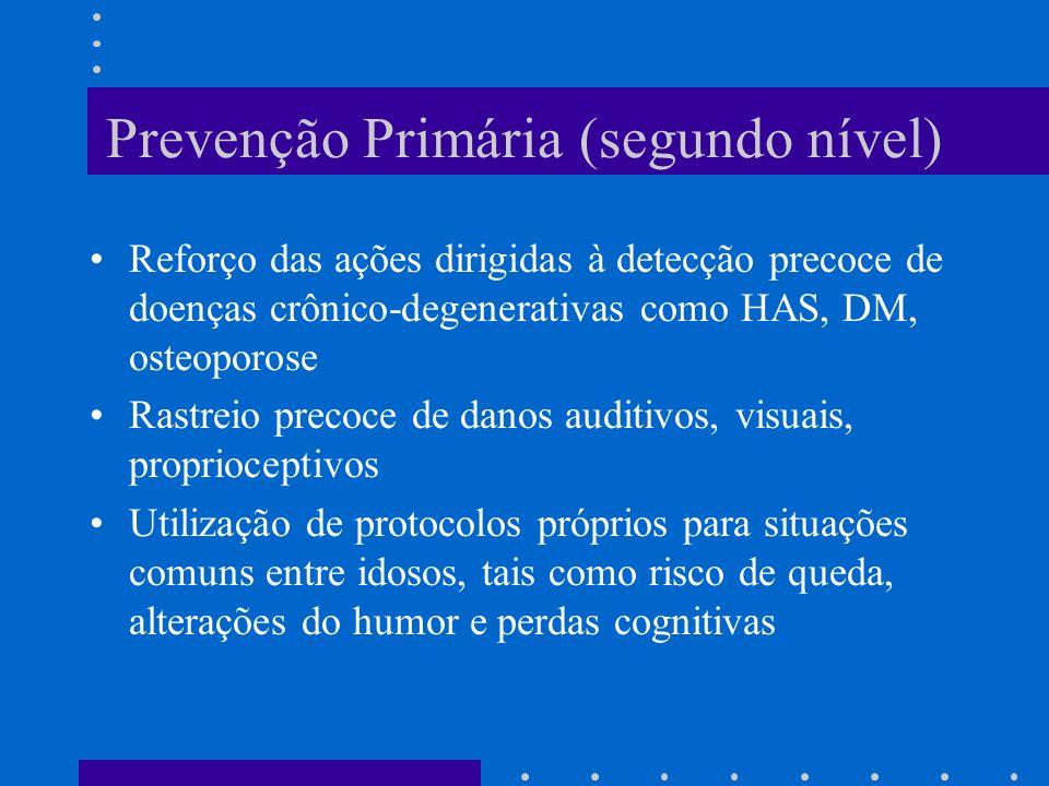 Prevenção Primária (segundo nível) Reforço das ações dirigidas à detecção precoce de doenças crônico-degenerativas como HAS, DM, osteoporose Rastreio precoce de danos auditivos, visuais, proprioceptivos Utilização de protocolos próprios para situações comuns entre idosos, tais como risco de queda, alterações do humor e perdas cognitivas