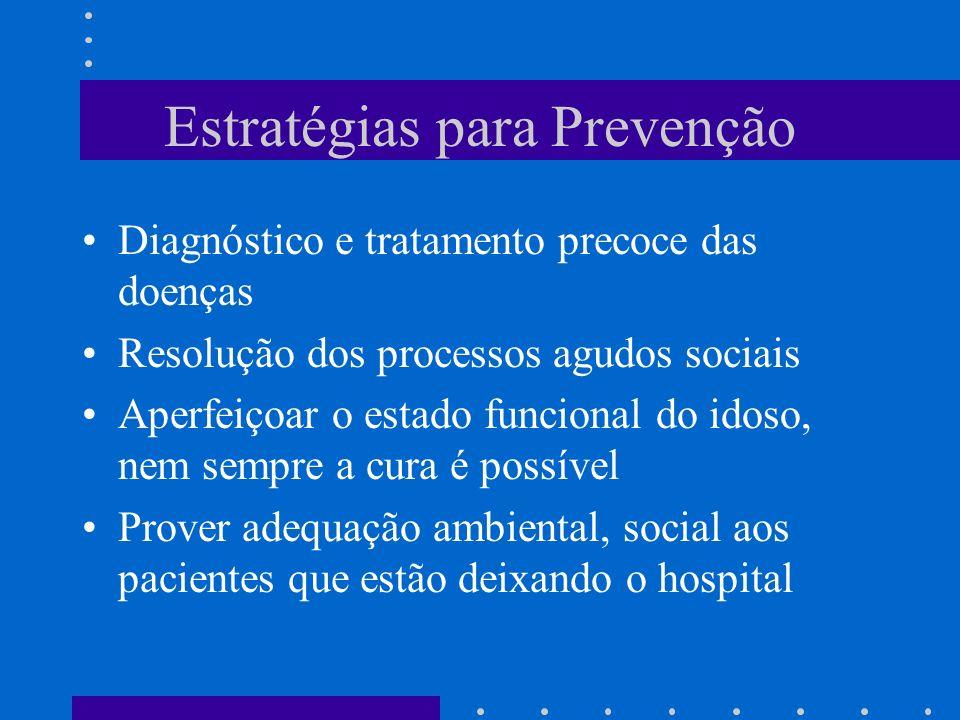 Estratégias para Prevenção Diagnóstico e tratamento precoce das doenças Resolução dos processos agudos sociais Aperfeiçoar o estado funcional do idoso, nem sempre a cura é possível Prover adequação ambiental, social aos pacientes que estão deixando o hospital