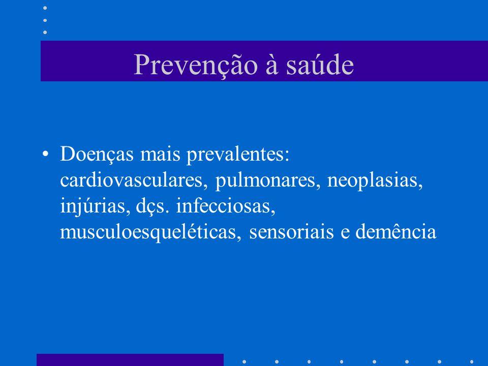 Prevenção à saúde Doenças mais prevalentes: cardiovasculares, pulmonares, neoplasias, injúrias, dçs.