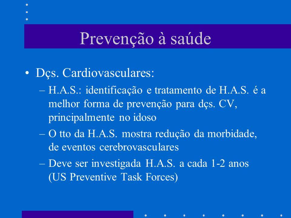 Prevenção à saúde Dçs.Cardiovasculares: –H.A.S.: identificação e tratamento de H.A.S.