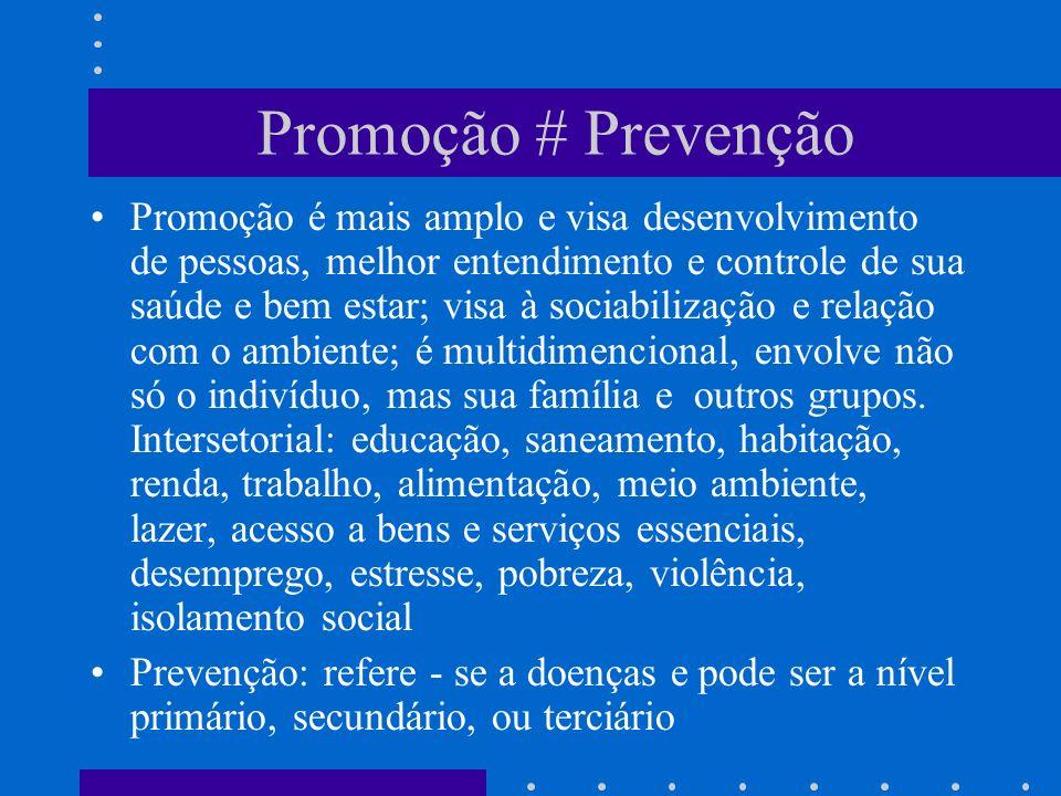 Promoção # Prevenção Promoção é mais amplo e visa desenvolvimento de pessoas, melhor entendimento e controle de sua saúde e bem estar; visa à sociabilização e relação com o ambiente; é multidimencional, envolve não só o indivíduo, mas sua família e outros grupos.