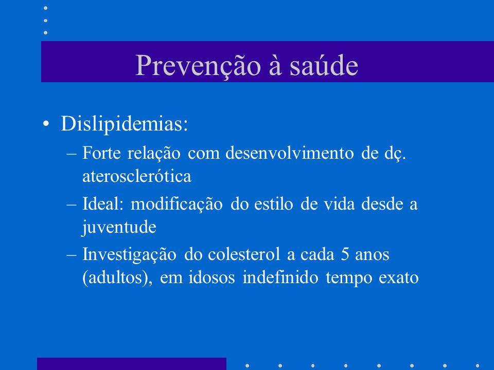 Prevenção à saúde Dislipidemias: –Forte relação com desenvolvimento de dç.