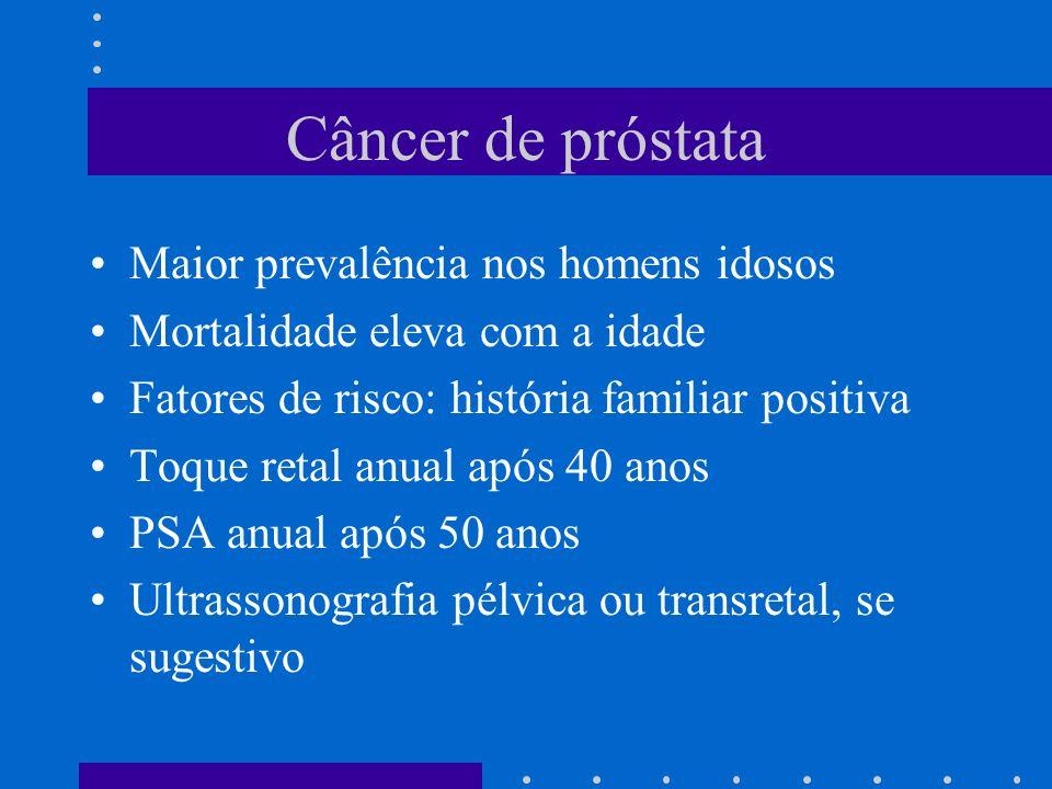 Câncer de próstata Maior prevalência nos homens idosos Mortalidade eleva com a idade Fatores de risco: história familiar positiva Toque retal anual após 40 anos PSA anual após 50 anos Ultrassonografia pélvica ou transretal, se sugestivo