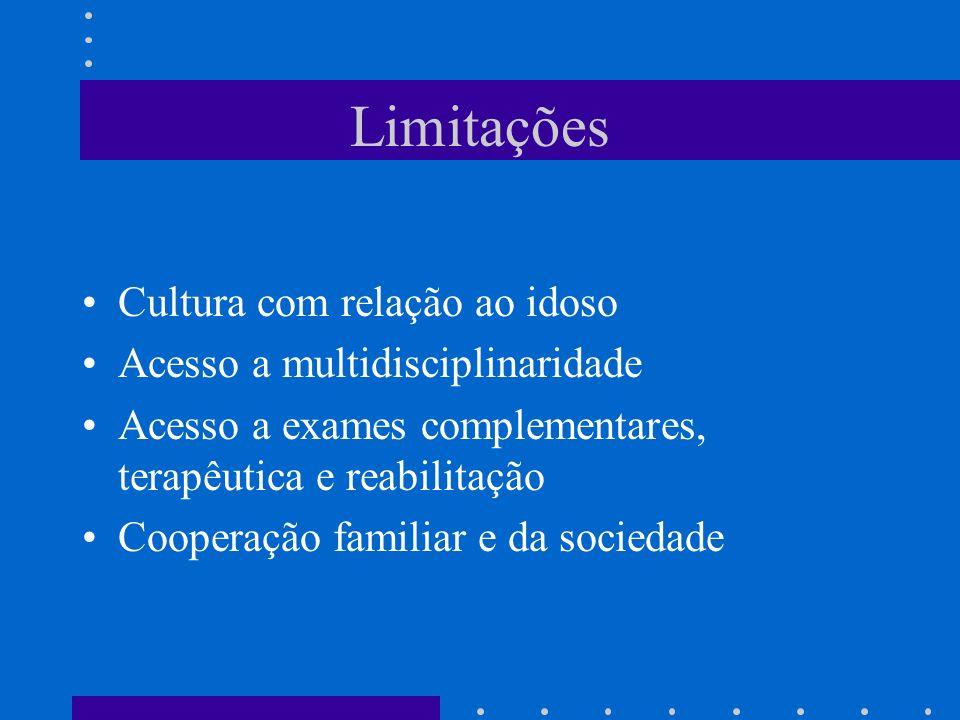 Limitações Cultura com relação ao idoso Acesso a multidisciplinaridade Acesso a exames complementares, terapêutica e reabilitação Cooperação familiar e da sociedade